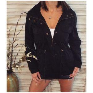 Jackets & Blazers - Military Style Utility Hoodie Jacket Zip Up 2118
